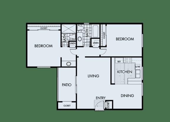 Floor Plan  2 Bed 2 Bath 2B Floor Plan at Corte Bella, California