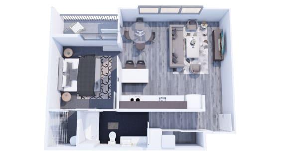 Range Apartments 1x1 B Floor Plan