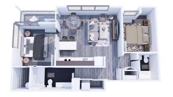 Range Apartments 2x2 A Floor Plan
