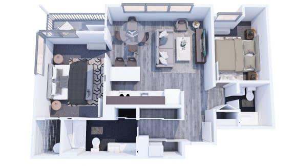 Range Apartments 2x2 C Floor Plan