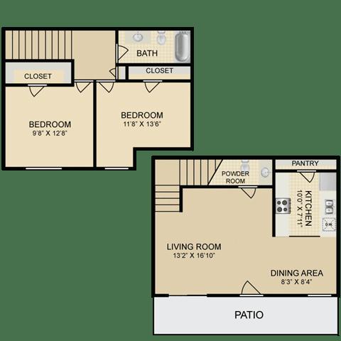Floor Plan  2 Bedroom Townhome