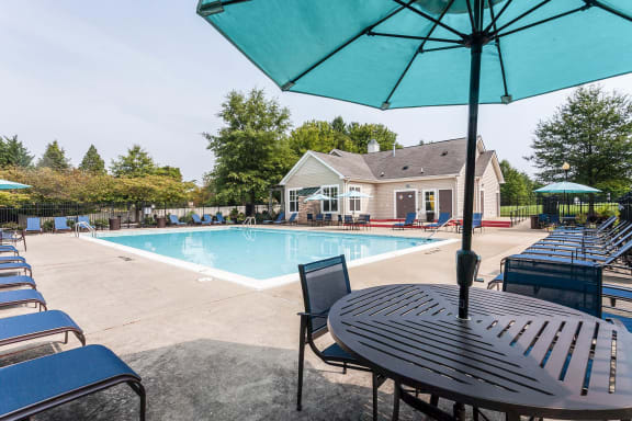 Sunny Pool Deck at Owings Park Apartments, Owings Mills, Maryland