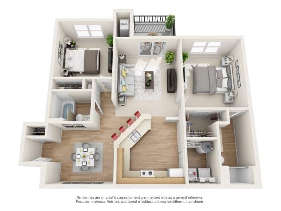 Floor Plan  Bradford Floor Plan 2 bed 2 bath Owings Park Apartments