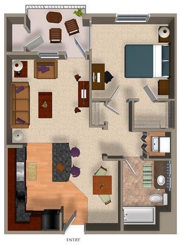 1 Bed - 1 Bath A4 Floor Plan at Carillon Apartment Homes, California, 91367