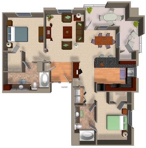 2 Bed - 2 Bath B3 Floor Plan at Carillon Apartment Homes, Woodland Hills