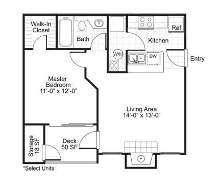 Floor Plan  A1 1 Bed 1 Bath Floor Plan at The Watch on Shem Creek, Mt. Pleasant, South Carolina