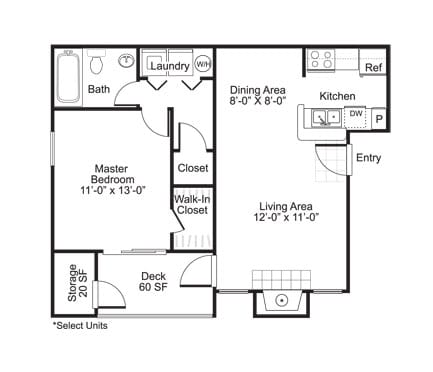 Floor Plan  A2 1 Bed 1 Bath Floor Plan at The Watch on Shem Creek, South Carolina, 29464