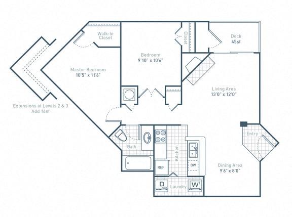 Floor Plan  B1_2Bed_1Bath at Waverly Place, North Charleston, South Carolina