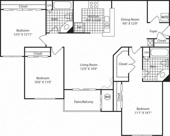 C2B Floor Plan  at Westerly at Worldgate, Herndon, VA