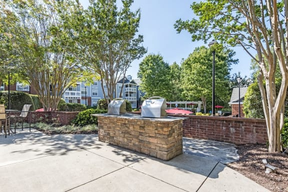 Grilling Area with Propane Grills at The Village Apartments, Raleigh, NC, 27615