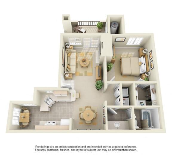 A2 – 1 Bedroom 1 Bath Floor Plan Layout – 765 Square Feet