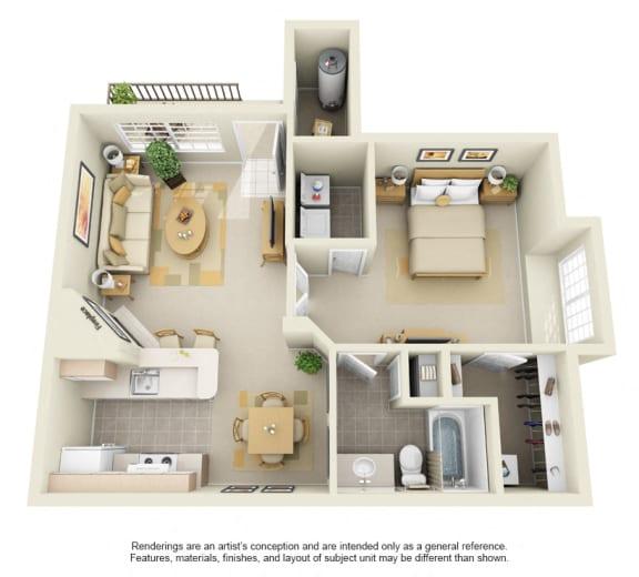 A4 – 1 Bedroom 1 Bath Floor Plan Layout – 820 Square Feet