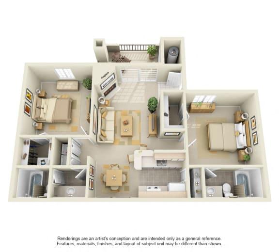 B1 – 2 Bedroom 2 Bath Floor Plan Layout – 1050 Square Feet
