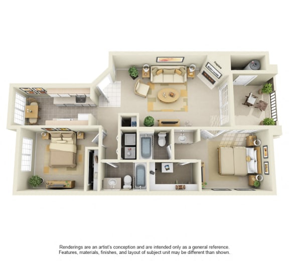 B2 – 2 Bedroom 2 Bath Floor Plan Layout – 1180 Square Feet
