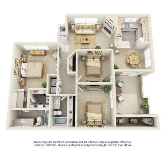 C1 – 3 Bedroom 2 Bath Floor Plan Layout – 1300 Square Feet