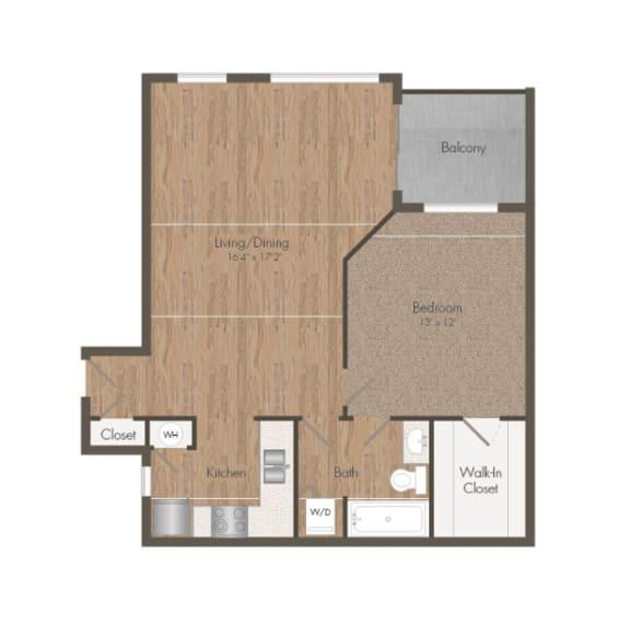 1 Bedroom 1 Bath Floorplan Small