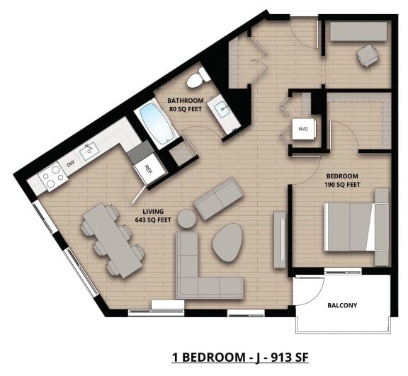 Floorplan J 1x1
