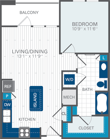 1 Bed 1 Bath A2 Floor Plan at Azul Baldwin Park, Orlando, FL