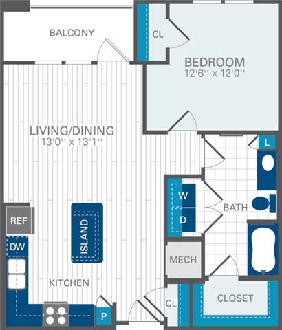 1 Bed 1 Bath A3 Floor Plan at Azul Baldwin Park, Orlando, 32814