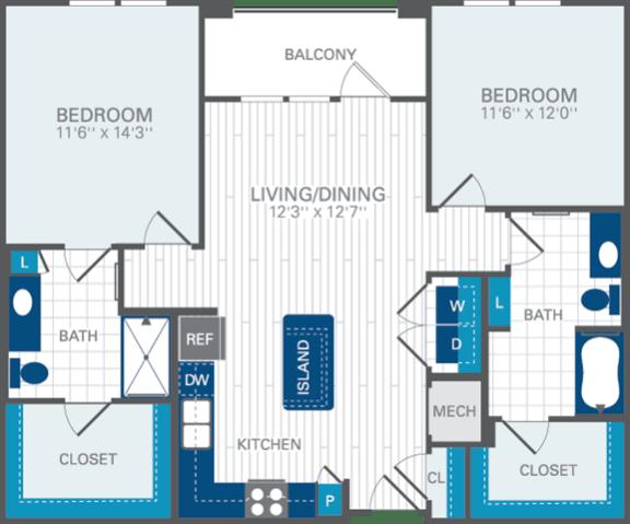 2 Bed 2 Bath B2 Floor Plan at Azul Baldwin Park, Orlando, Florida