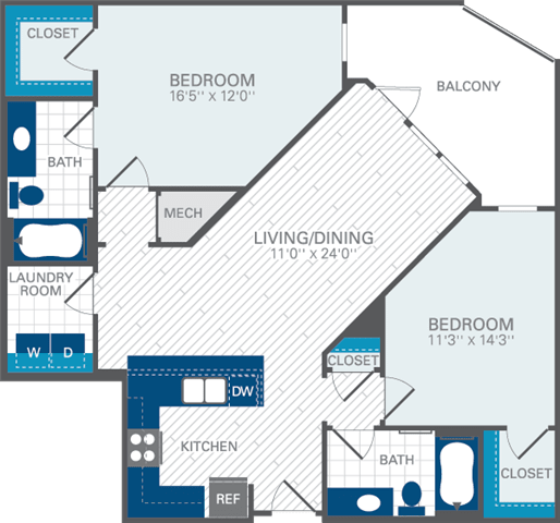 2 Bed 2 Bath B5 Floor Plan at Azul Baldwin Park, 4460 Lower Park Road