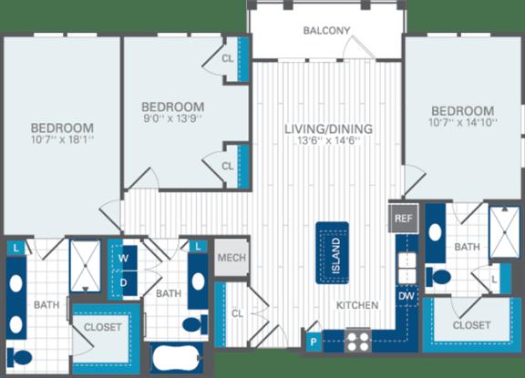 3 Bed 3 Bath C1 Floor Plan at Azul Baldwin Park, Orlando, 32814