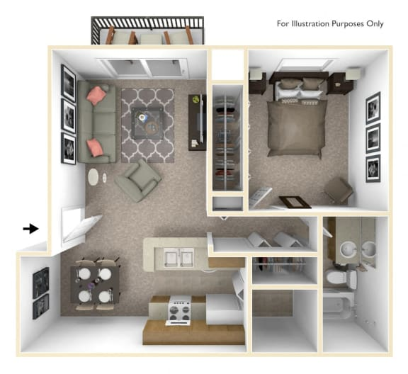1-Bed/1-Bath, Bluebell Floorplan at Bristol Square at Bristol Square and Golden Gate Apartments, Wixom, Michigan