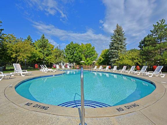 Seasonal swimming pool at Bristol Square and Golden Gate Apartments, Wixom, Michigan