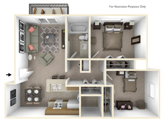2-Bed/1-Bath, Daffodil Floorplan at Bristol Square at Bristol Square and Golden Gate Apartments, Wixom