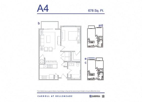 Carroll at Bellemeade 1 Bedroom Apartment Floor Plan