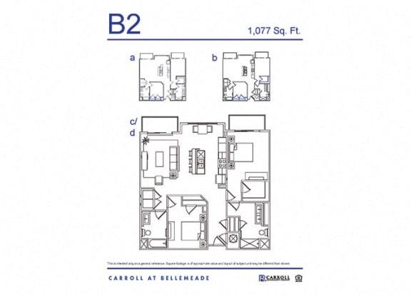 Carroll at Bellemeade 2 Bedroom Apartment Floor Plan