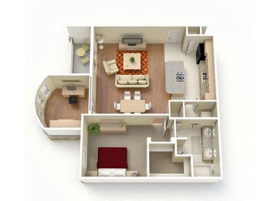 Floor Plan  One Bedroom One Bathroom with Study