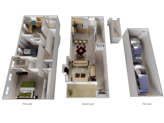 Claremont Floor Plan at Westview Heights Apartments, 18301 NW Chemeketa Lane, Portland