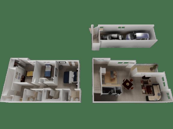 Meriwether Floor Plan at Westview Heights Apartments, 18301 NW Chemeketa Lane, OR