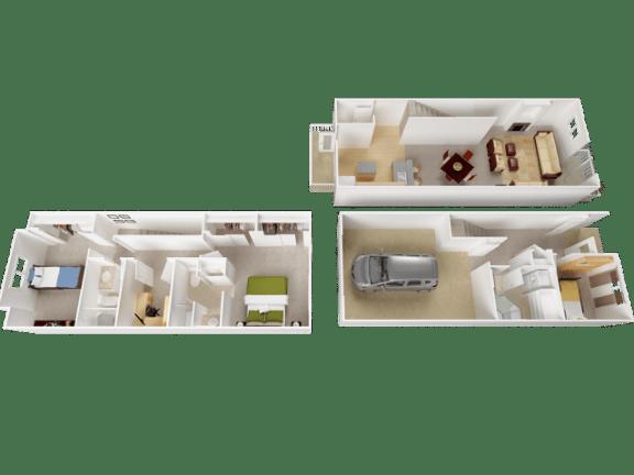 Ridge Floor Plan at Westview Heights Apartments, 97229, OR