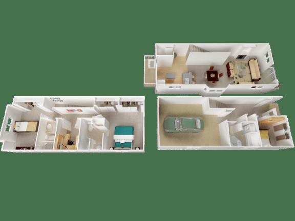 Salishan Floor Plan at Westview Heights Apartments, Oregon, 97229