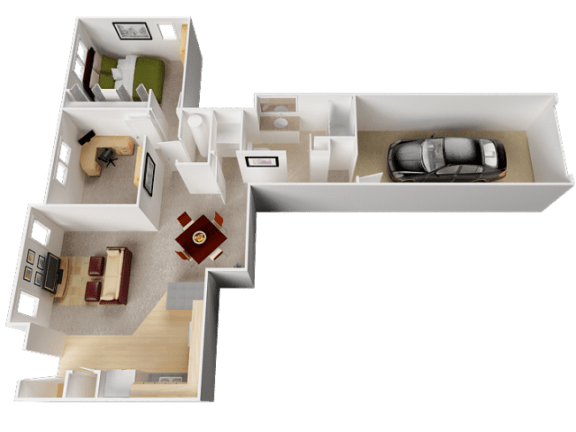 Wildwood Floor Plan at Westview Heights Apartments, Portland, 97229