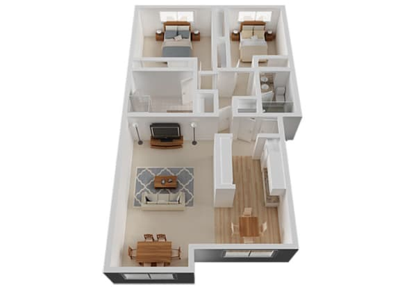 Two Bed Two Bath Floor Plan at The Glens, San Jose, California