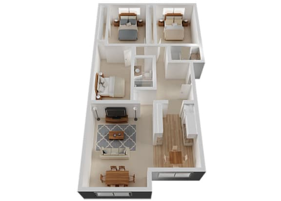 Three Bed Two Bath Floor Plan at The Glens, California, 95125