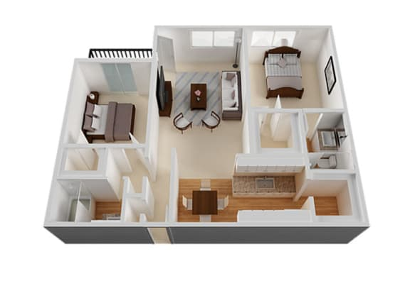Two bedroom Two bathroom Floor Plan at The Monterey , San Jose, CA