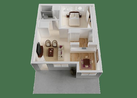 One Bedroom Floor Plan at Normandy Park, Santa Clara, 95050