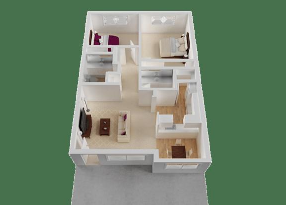 Two Bedroom Floor Plan at Normandy Park, Santa Clara, California