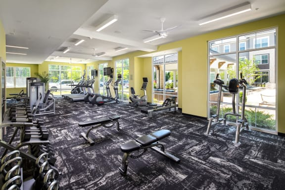 Expansive Fitness Center at The Flats at Ballantyne Apartments, Charlotte