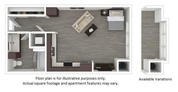 Floor Plan  S2 1 Bathroom Floor Plan at Centric LoHi by Windsor, Denver, 80211