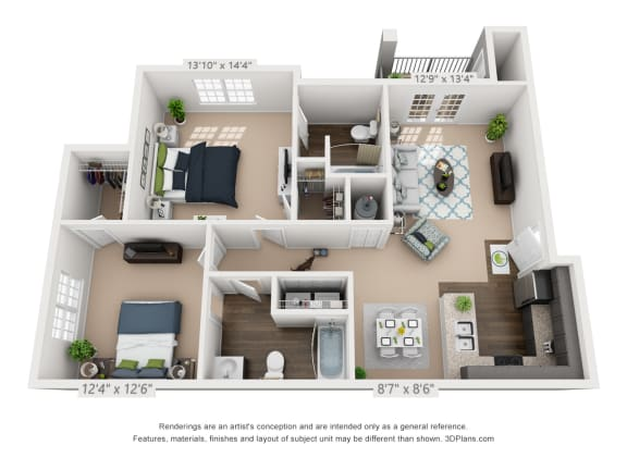Ardmore at Alcove Two Bedroom, Two Bathroom Floor Plan