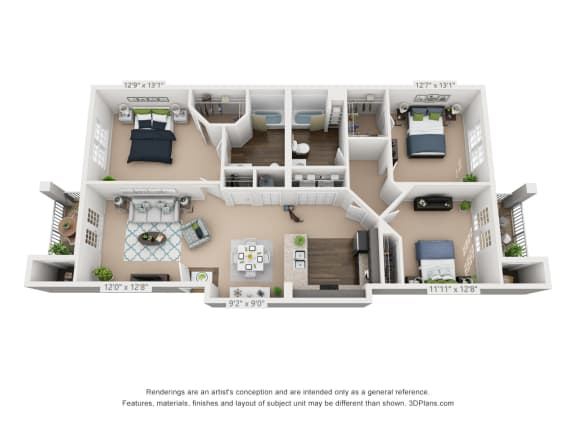 Ardmore at Alcove Three Bedroom, Two Bathroom Floor Plan