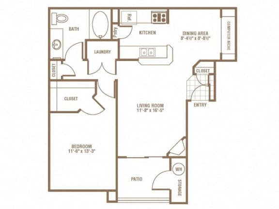 Floor Plan  1 Bedroom 1 Bath Floor Plan at The Preserve at Greenway Park, Casper, WY