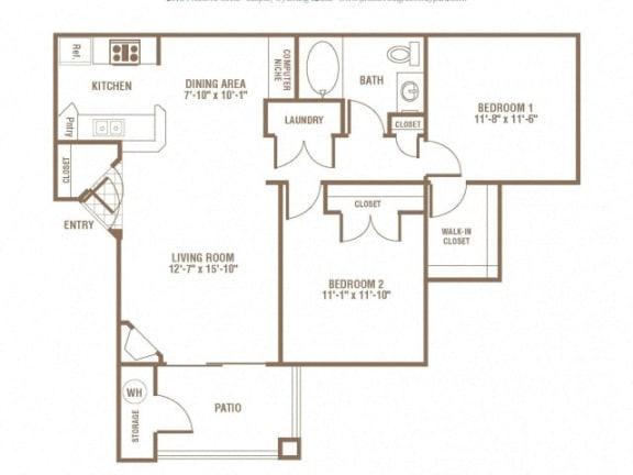 Floor Plan  2 Bedroom 1 Bath Floor Plan at The Preserve at Greenway Park, Casper