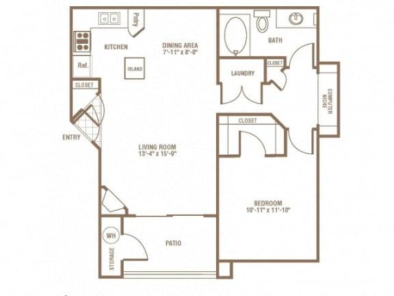 1 Bedroom 1 Bathroom Floor Plan at The Preserve at Greenway Park, Casper, 82609