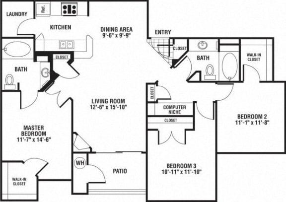 Floor Plan  3 Bed 2 Bath Floor Plan at The Preserve at Rock Springs, Rock Springs, Wyoming